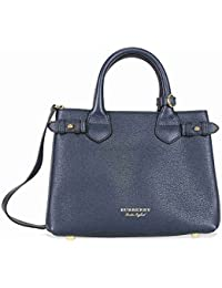 Bolso de Mano Burberry Mujer Piel Azul, Check Burberry y Oro 4023703 Azul 12x20x26 cm