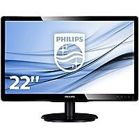 "Philips 226V4LAB Monitor 22"" LED, Full HD, 1920 x 1080, DVI e VGA, Casse Audio Integrate, 5 ms, Attacco VESA, Nero"