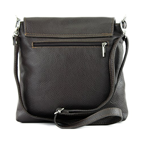 modamoda de -. cuoio ital Borsa da donna Messenger bag borsa a tracolla in pelle borsa NT07 2in1 Dunkelbraun