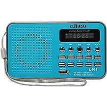 eJiasu multifunción Mini Digital Radio FM receptor portátil reproductor de música MP3 de la ayuda TF / SD Puerto de la tarjeta / USB / LED de salida de la pantalla de visualización / linterna / la batería recargable / auriculares / audio Intput / cordón para el iPhone iPod PC (Azul)