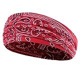 A0127 Frauen b?hmische breites Haarband Yoga Sport geometrische Druckkopf Wickeln geknotete Turban
