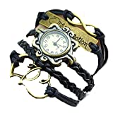 One Direction Black Leather Charm Watch Bracelet for Women/girls at amazon