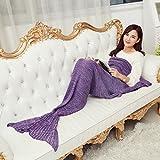 Gugutogo Pashmina-wie gestrickte warme Mermaid Tail Decke 140 * 70/180 * 90cm Wrap Decke (Farbe: lila) (Größe: 180 * 90)