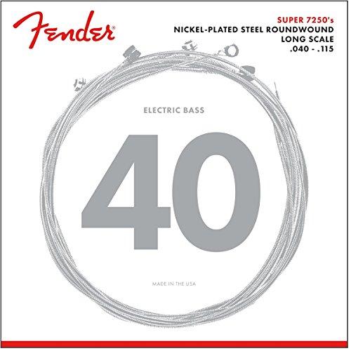 Fender 073-7250-453 7250 Bass Strings, Nickel Plated Steel, Long Scale, 7250-5L .040-.115 Gauges, Set of 5