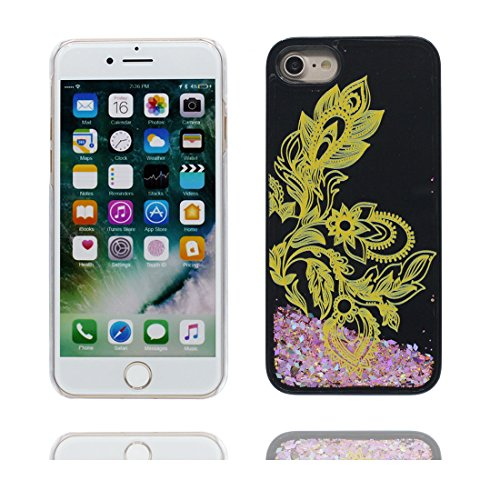"Hülle iPhone 6, [ Liquid Fließendes Glitzer Bling Bling Herzförmig] iPhone 6S Handyhülle Cover (4.7 zoll), Floating sparkles, iPhone 6 Case Shell 4.7"" Anti-Beulen- Feder Schwarz 1"