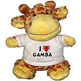 Jirafa de peluche (juguete) con Amo Gamba en la camiseta (nombre de pila/apellido/apodo)