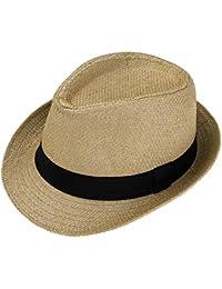 Faletony Unisex Fedora Hat Trilby Straw Hats Summer Panama Beach Sun Cap 73f3fa6e0f0f