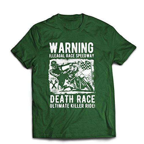 Maglietta da uomo la corsa alla morte - l'ultimo killer ride, motociclismo, motociclista, classico - vintage - moto retrò (medium verde scuro multicolore)