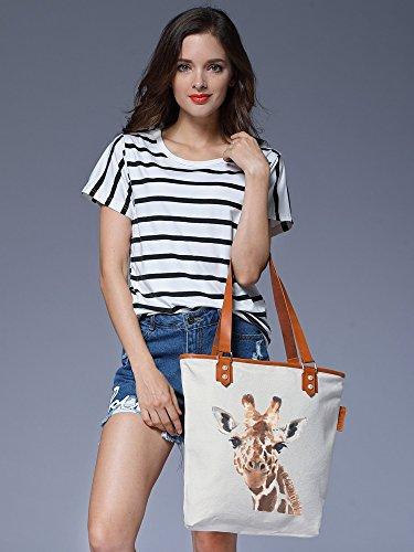 S.CHU Women's Paniter Giraffe Canvas Leather Tote Handbag Ladies Shoulder Bag Beige