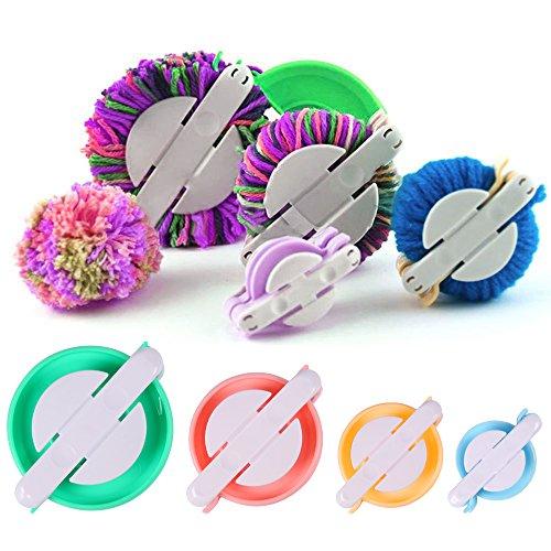 fabricantes de pompones, BKDZ 4 tamaños Pompom Maker kit para niños DIY que hace punto herramienta del arte Fluff Ball Weaver Maker