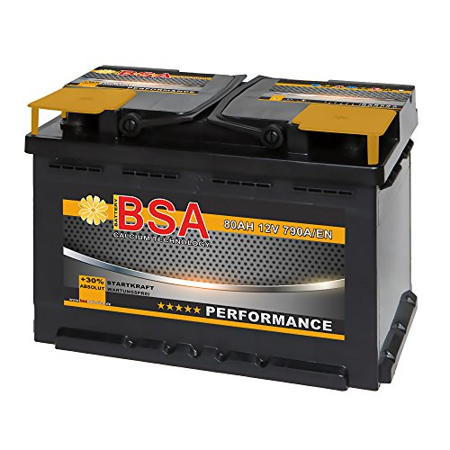 BSA Autobatterie 12V 80AH 790A/EN ersetzt 70Ah 72Ah 74Ah 75Ah 77Ah