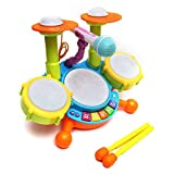 #5: IndusBay Colorful Musical Jazz Drum Set with Mic, Drumstick and Flashing Lights Fun Beat orcestra Set for Kids