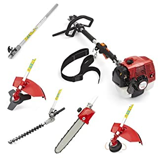 Trueshopping® 58cc Petrol Multi Tool Long Reach Multi Function 5 In 1 Garden Power Tool Including: Hedge Trimmer, Grass Trimmer, Brush Cutter, Chainsaw Pruner & Free Extension Pole 2-Stroke 2.5KW / 3.3HP