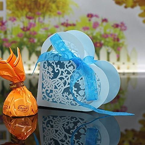 sypure (TM) 30pcs/pack exquisito corte en forma de corazón cajas de caramelos para boda fiesta cumpleaños novia ducha regalo dulce cajas,