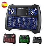 ANEWKODI T16 Mini Teclado Retroiluminado Teclado Inalámbrico con Touchpad Mini Keyboard de Juegos Controlador 2.4GHz Teclado Ergonómico con Ratón para Smart TV, PC, Android TV Box, HTPC, IPTV, XBOX, Soporta Windows 10