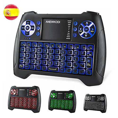 Amazon ANEWKODI T16 Mini Teclado Retroiluminado Teclado Inalámbrico con Touchpad Mini Keyboard de Juegos Controlador 2.4GHz Teclado Ergonómico con Ratón para Smart TV, PC, Android TV Box, HTPC, IPT