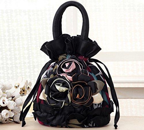 SHISHANG Damen Handtasche Fashion Lace Kordelzug Blume Tasche Tote ZYXCC (Farbe : 2) - Blumen-zwei Tote Tasche