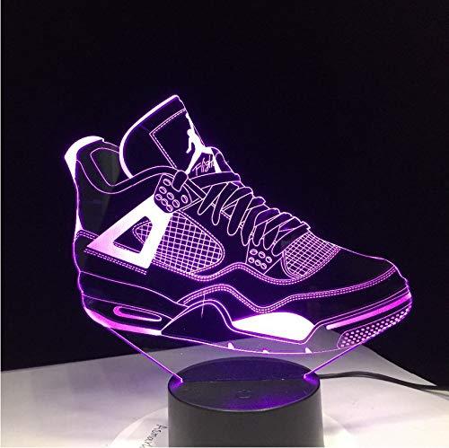 (Kinder Geschenk 3D Sneaker Lampe LED Tischleuchte Kinder Leuchtende Schuhe Spielzeug Jungen Mädchen Baby 7 Farben Blinkende Lichter)