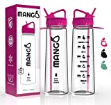 Mango Sports Water Bottle With Motivational Time Markings - BPA Free Plastic Sports Drinking Container With Flip Nozzle, Removable Straw And Leakproof Cap - Ideal For Running, Gym, Yoga, Outdoors - Adults & Kids