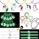 Candygirl Lot de 41 Licorne Kit, Porte-Clés Licorne, Bracelets Licorne, Elastique à Cheveux Licorne,Collier Licorne Lueur dans la Nuit Enfant Fille Soirée Fête Anniversaire Noël