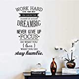 Lavillede Wall Quote Art Sticker Decal for Home Bedroom Decor Corp Office Wall Saying Mural Wallpaper Birthday Gift for Boys and Girls