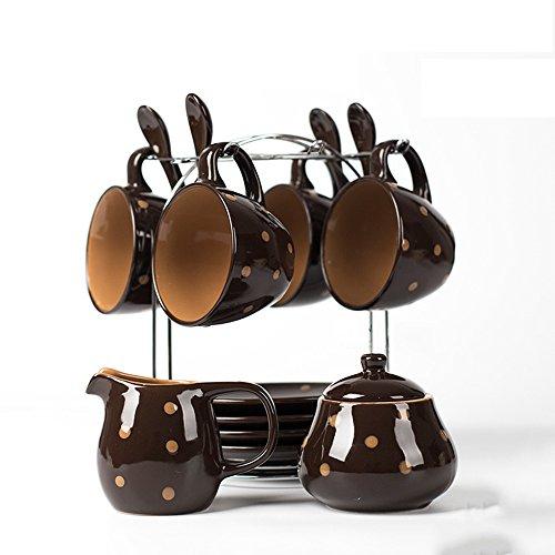 Ensemble de café en céramique créative / Accueil Coupe de café personnalisée avec cuillère / 4 Coupe 4 Disque 4 Ensemble de cuillère (2 couleurs en option) ( couleur : B )
