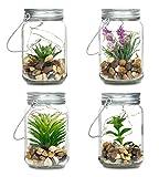 4er Set Sukkulenten Im Glas B x H: 8 x 13 cm Deckel LED Warmweiß Henkel Deko Tischdeko Lampe Kunstpflanze Hängelampe