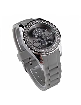 Damen Strass Silikon Armbanduhr Grau Skull Totenkopf Trend Gummi Uhr Quartz