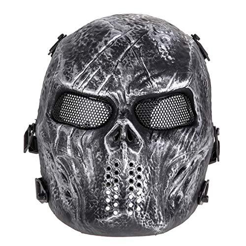 JYYC Schädel Airsoft Party Maske Paintball Vollgesichtsmaske Armee Spiele Mesh Augenschutzmaske für Halloween Cosplay Party Decor-Grau