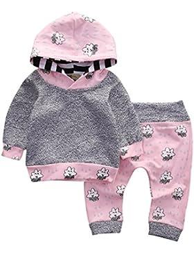 QinMM Niedlich Babykleidung, Kleinkind Säuglings Baby Kleidung stellte Gestreifte Karikatur mit Kapuze Oberseiten...