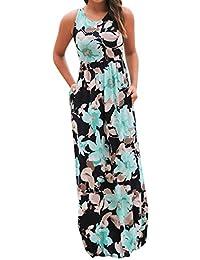 ac06955af2 Ulanda-EU Womens Dresses Ladies Sleeveless Floral Printed Dress Casual  Holiday Beach Long Maxi Summer