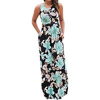 Kleidung Damen DAY.LIN Frau Ärmellos Blumenmuster Maxikleid mit Taschen Ärmelloses bedrucktes langes Kleid für Damen