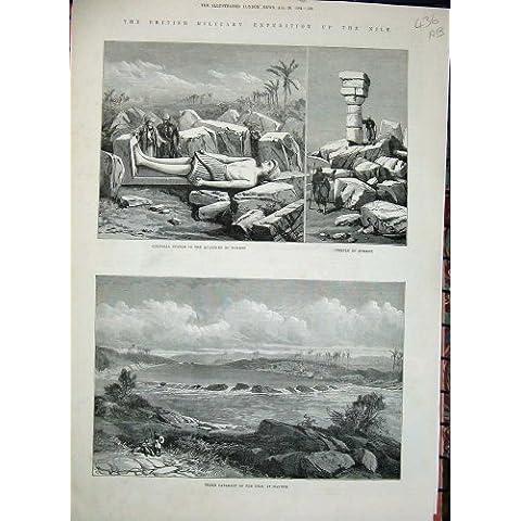 Impresión Antigua del Templo 1884 de Tumbos de la Estatua de Egipto Sukkot Hannek Jartum