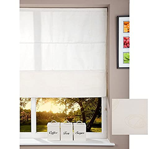 Roman Shade Home Fabric Window Blind - Cord -Circles Cream 100 x 160cm