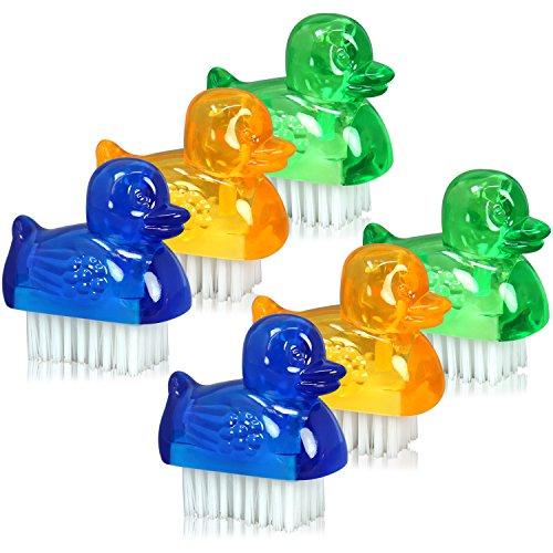 com-four® 6X Mini Handwaschbürsten im Enten-Design, Nagelbürste in blau, grün und gelb, Bürste, Reinigungsbürste (06 Stück - Enten) - Nylon-ente