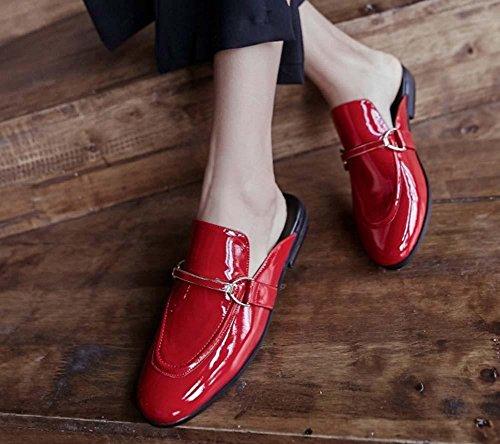 NobS Sandali in pelle verniciata in pelle pelle Sandali Pantofole Sandali Nero Scarpe Mules Red