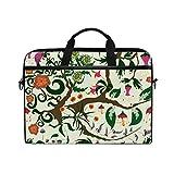 Ahomy 14-14,5 Zoll Laptoptasche, Fantastische Gartenblume, Leinenstoff, Laptoptasche, Bussiness Handtasche mit Schultergurt für Damen und Herren