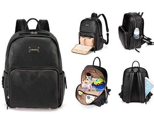 Preisvergleich Produktbild AMB Multifunktions-Rucksack, modisch, praktisch, aus PU-Leder, für Baby-Windeln, Wickeltasche mit Wickelunterlage