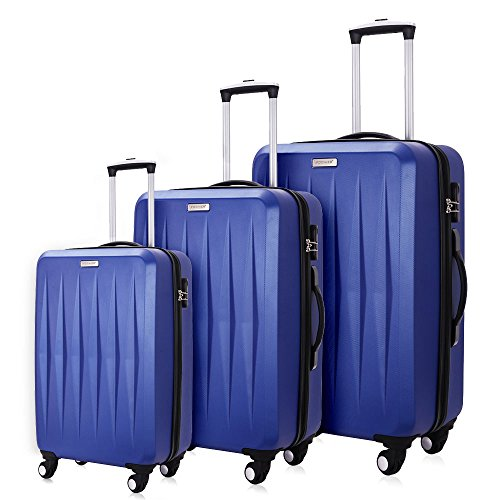 Fochier Set da Viaggio 3 Pezzi Ruote Spinner per Carrello da Viaggio Hardside 20/24/28 inch,Blu#