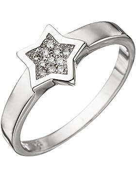 JOBO Damen Ring Stern 925 Sterling Silber mit Zirkonia Silberring