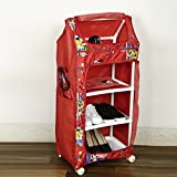 NHR Multipurpose Foldable Baby Printed Wardrobe With 4 Shelves, 105x30x46cm (Red)