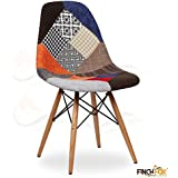 Finch Fox Patchwork Upholstery DSW Dining Chair/Living Room/Cafe Chair/Side Chair/Accent Chair (Multicolour)