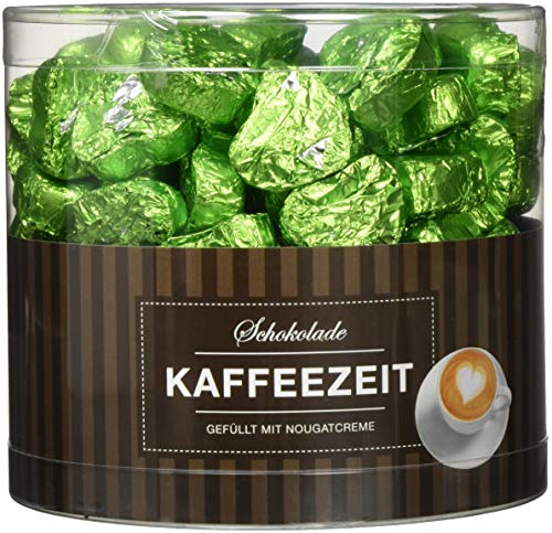 Günthart 150 Stück grün Schokoladen Herzen mit Nougatfüllung | Nougatcreme Kaffeezeit | Schokoladenherzen grün Edinburgh |Give away | grüne Herzen aus Schokolade | Kaffeezeit (1,2 kg)