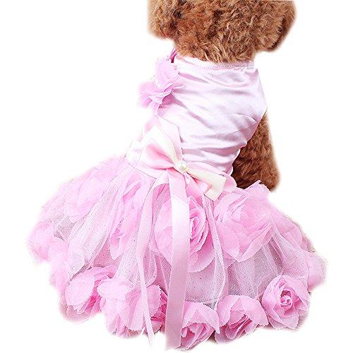 Haustier Kleidung Katzen Hunde Perlen Spitze Rosen Hochzeitskleid (M, Rosa)