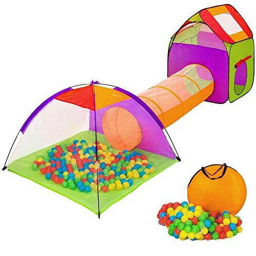Gioco Tenda Igloo per Bambini Pieghevole con Tunnel + 200 Palline + Casetta + Borsa per Trasporto