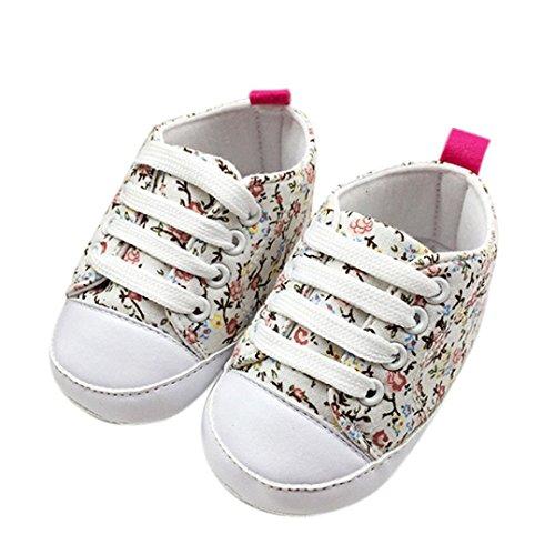 BZLine - Unisexe Bébé Canvas Chaussure à Motif des fleurs - Semelle composite - Anti-glissant (6~12 Mois, Pink) Blanc