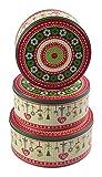Unbekannt Weihnachtsdosen 3er-Set Plätzchendose Gebäckdose Keksdose Vorratsdosen Deko rund, Variante:grün/rot