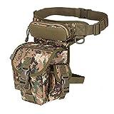 Woopower Mehrzweck-Motorrad-Beutel mit Hip Holster-Tasche, wasserdicht, taktisch Oberschenkel-Kamera Armee Fanny Pack Taille-Tasche Tactical Sling Bag Pack, für Herren, camouflage grün