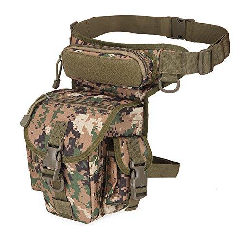 Woopower Mehrzweck-Motorrad-Beutel mit Hip Holster-Tasche, wasserdicht, taktisch Oberschenkel-Kamera Armee Fanny Pack Taille-Tasche Tactical Sling Bag Pack, für Herren, camouflage grün (Holster Pack Fanny)