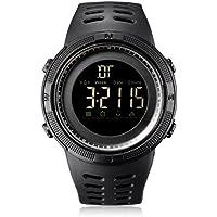 Bioxo Männer Digital Sport Armbanduhr, LED-Bildschirm Military Uhren und wasserdicht Military Business Casual Stoppuhr Uhr - Schwarz